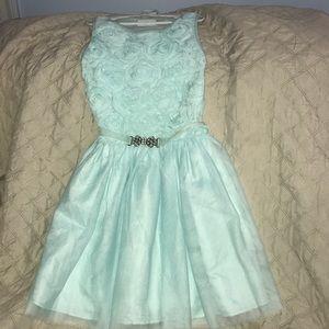 Girls Blue 3D Flower dress